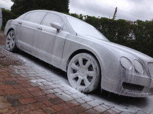 Snow Foam on Bentley Flying Spur