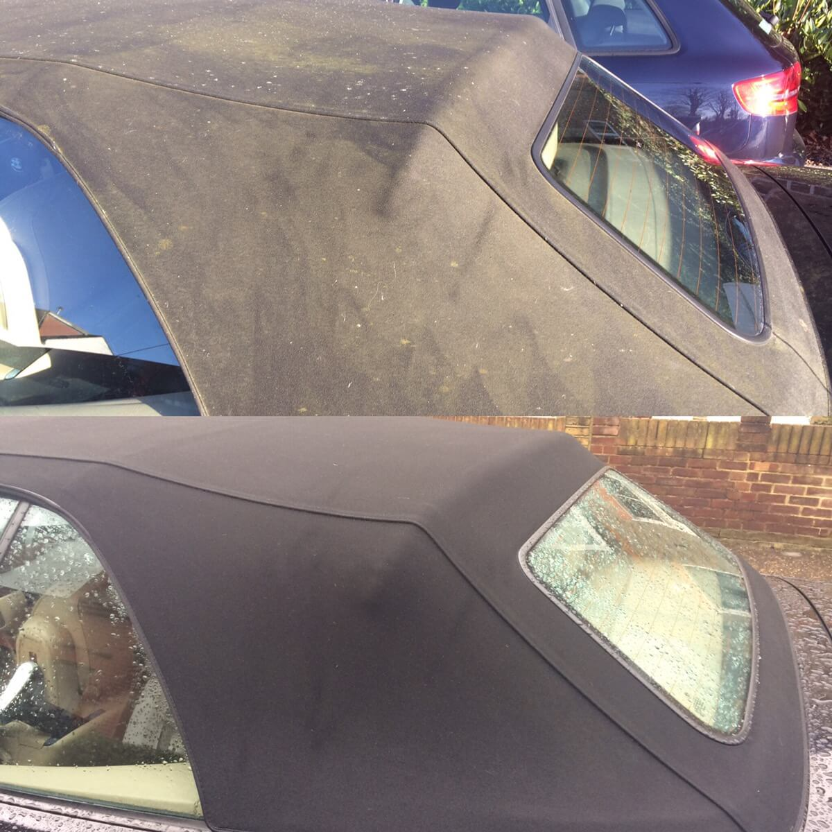 Professional soft top cleaning Surrey before & after